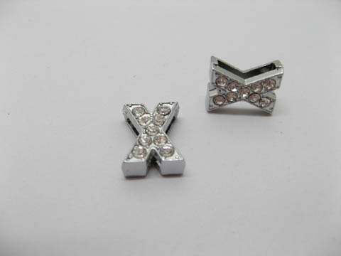 "10 Fashion Rhinestone Letter ""X"" Beads Collar Charms"