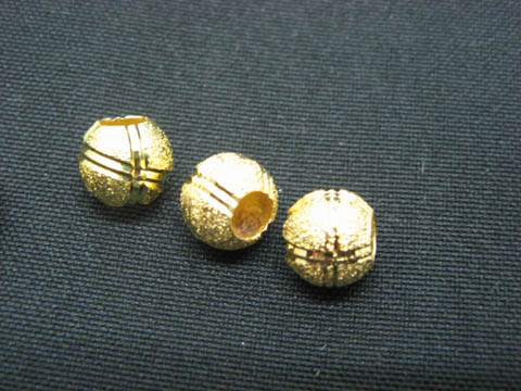 100 Golden Carved Frosted European Beads ac-sp650