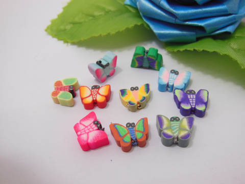 500 Butterfly Shape Polymer Clay Bead Mixed Color