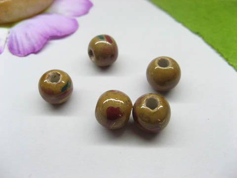 100 Coffee Round Lampwork Porcelain Beads 10mm be-g516