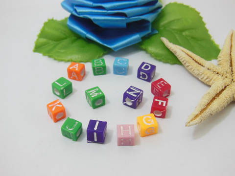 2200 Alphabet Letter Cube Beads 6.6mm Mixed Colour