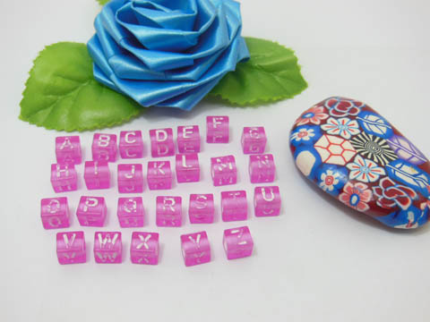 2500 Hot Pink Alphabet Letter Cube Beads 6.6mm