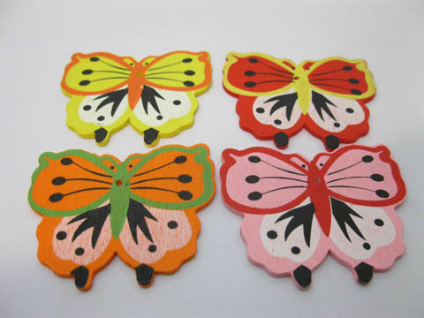 100Pcs Jumbo Butterfly Wooden Beads Mixed Color 52x60x2mm