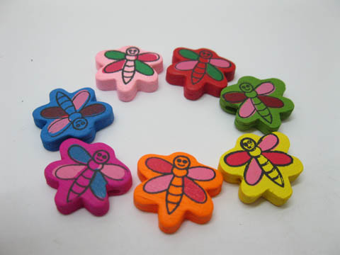 420Pcs Colourful Honeybees Wooden Beads Mixed 20mm