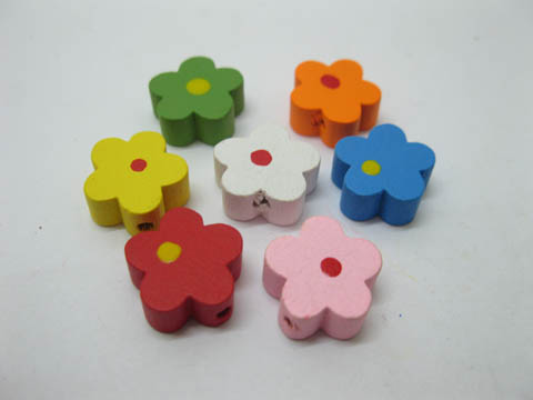 300Pcs Flower Wooden Beads Mixed Color 15mm