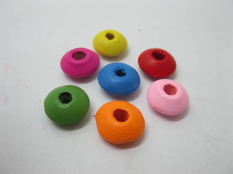 500Pcs Flat Round Wood Beads Mixed Color 12mm