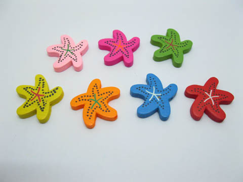 200 New Sea Star Wooden Beads Mixed Color