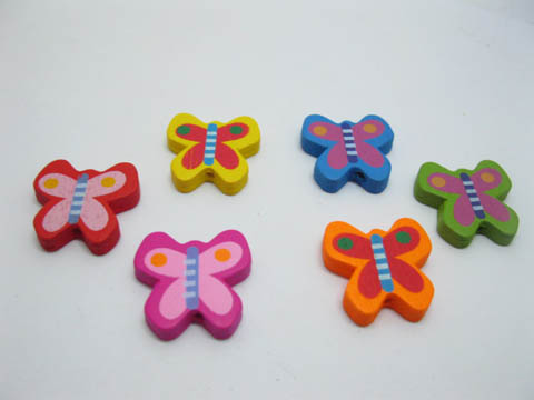 200 Cute Butterfly Wooden Bead Mixed Color Bulk