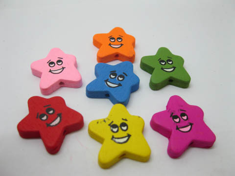300Pcs Colourful Smile Face Star Wooden Beads Mixed