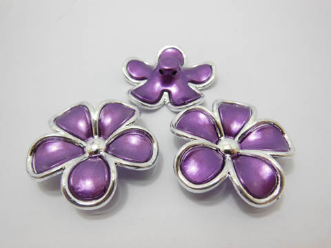 30Pcs Purple Flower Hairclip Jewelry Finding Beads 4.5cm