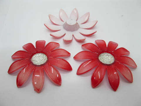 20Pcs Red Blossom Sunflower Hairclip Jewelry Finding Beads 6cm