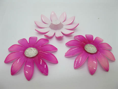 20Pcs Fuschia Blossom Sunflower Hairclip Jewelry Finding Beads
