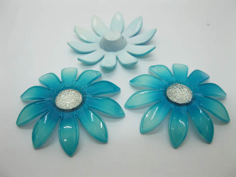 20Pcs Blue Blossom Sunflower Hairclip Jewelry Finding Beads 6cm