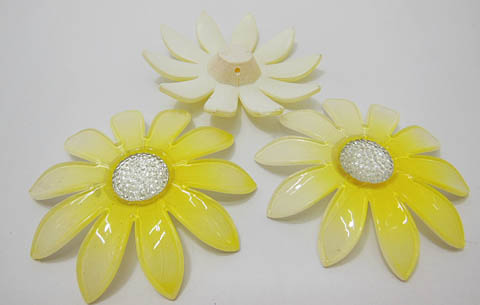 20Pcs Yellow Blossom Sunflower Hairclip Jewelry Finding Beads 6c