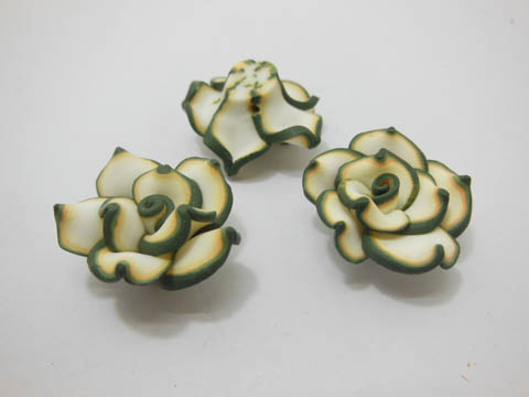 195 Green White Fimo Rose Flower Beads Jewellery Findings 2.5cm