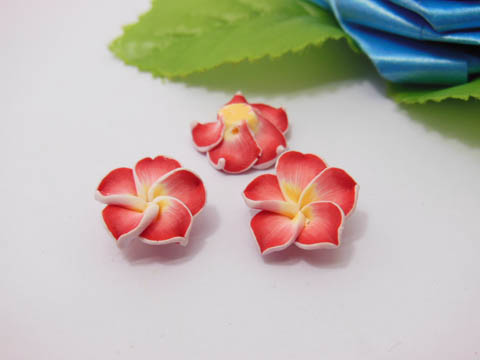 100 Red Fimo Beads Frangipani Jewellery Finding 1.5cm