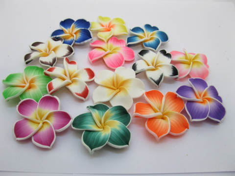 20 Fimo Beads Frangipani Jewellery Finding Mixed