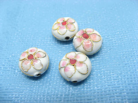 100 Filigree Flower Cloisonne Round Beads Finding