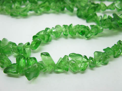10 Strands Green Loose Glass Chip Beads 90cm