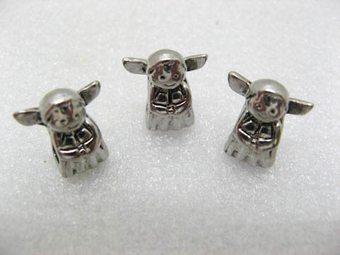 10 Alloy Pandora Girl Metal Thread Beads ac-sp319