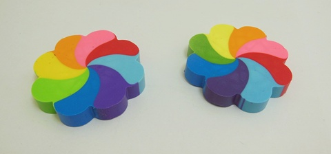 36Pcs New Funny Colorful Rainbow Windmill Design Erasers